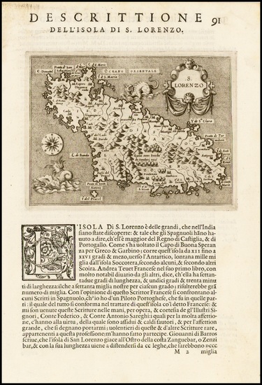 53-African Islands, including Madagascar Map By Tomasso Porcacchi