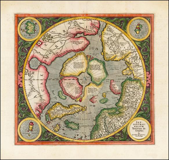 58-Northern Hemisphere, Polar Maps and Alaska Map By Gerard Mercator