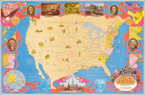 56-United States, Pictorial Maps and American Revolution Map By Hammond & Co.