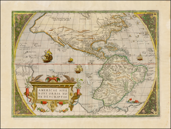 62-Western Hemisphere, South America and America Map By Abraham Ortelius