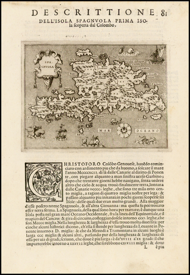 36-Caribbean Map By Tomasso Porcacchi