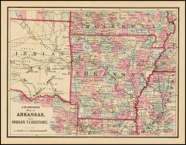 36-South, Arkansas and Plains Map By Joseph Hutchins Colton