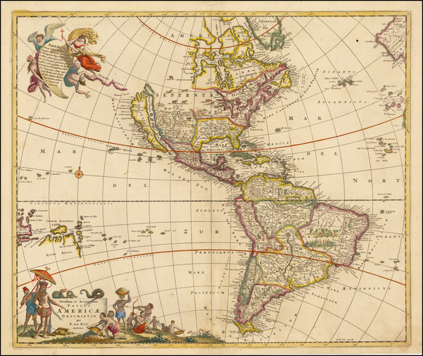 28-Western Hemisphere, South America and America Map By Frederick De Wit