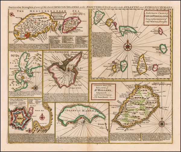 26-Portugal, Malta and African Islands, including Madagascar Map By Emanuel Bowen
