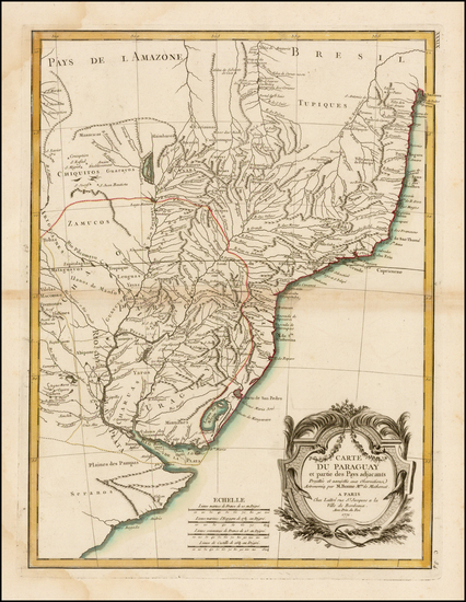 54-South America and Paraguay & Bolivia Map By Rigobert Bonne / Jean Lattre