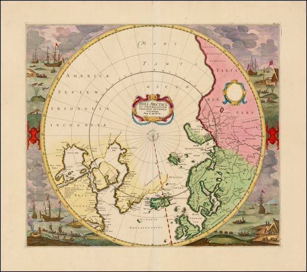 4-Northern Hemisphere, Polar Maps, Canada, Russia and Scandinavia Map By Frederick De Wit