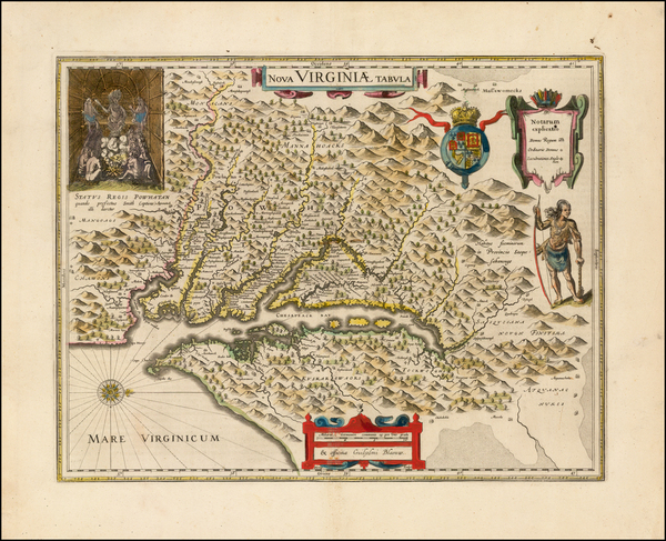 Mid-Atlantic, Southeast and Virginia Map By Willem Janszoon Blaeu