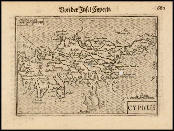 68-Cyprus Map By Barent Langenes