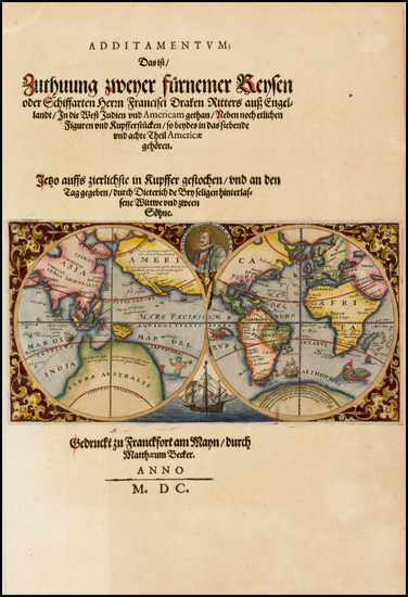 39-World and World Map By Theodor De Bry