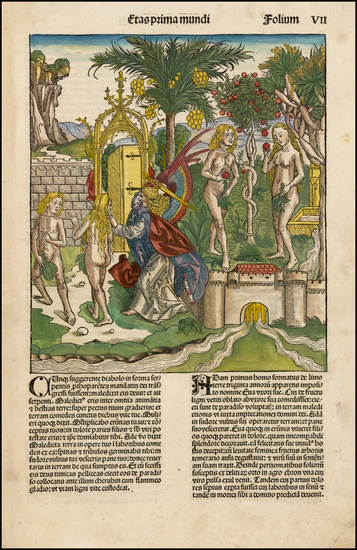 11-Holy Land and Curiosities Map By Hartmann Schedel