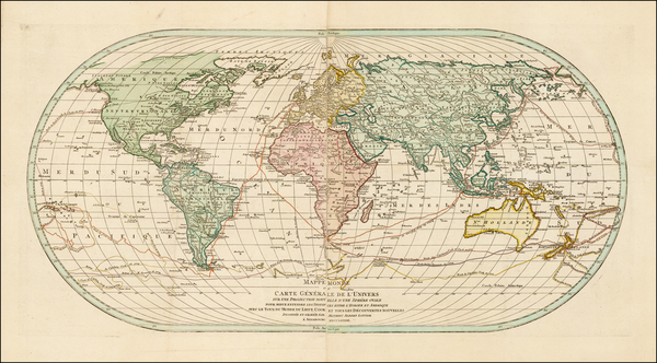 100-World, World, Hawaii, Pacific and Hawaii Map By Mathais Albrecht Lotter