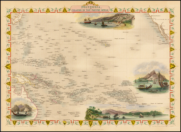 93-Pacific, Oceania, Hawaii and Other Pacific Islands Map By John Tallis