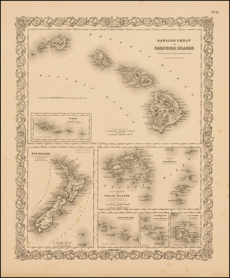 32-Hawaii, New Zealand, Hawaii and Other Pacific Islands Map By G.W.  & C.B. Colton