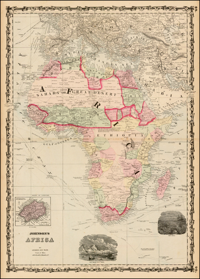 97-Africa Map By Alvin Jewett Johnson