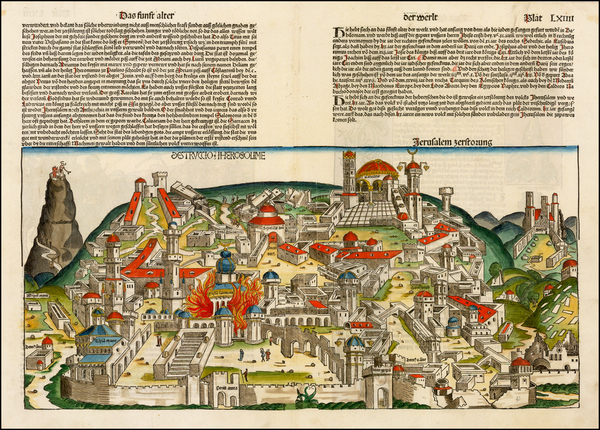 77-Holy Land Map By Hartmann Schedel