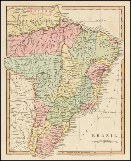 92-Brazil Map By Hamilton, Adams & Co.