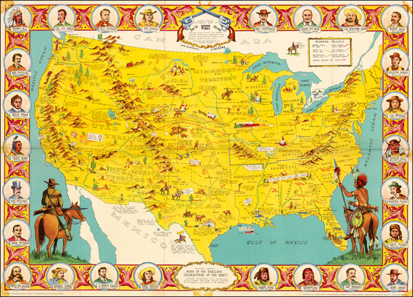 93-United States, South, Texas, Midwest, Plains and Southwest Map By Old Western Trading Post Ltd.