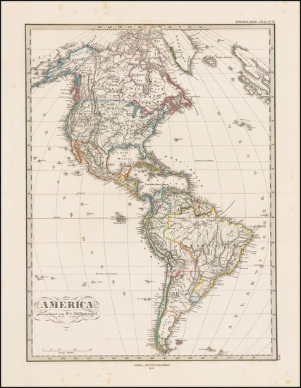 58-South America and America Map By Adolf Stieler