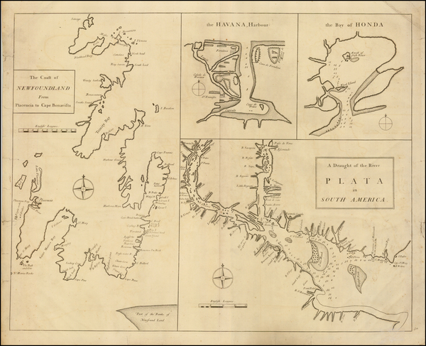 Canada, Caribbean and South America Map By John Senex / Edmund Halley / Nathaniel Cutler