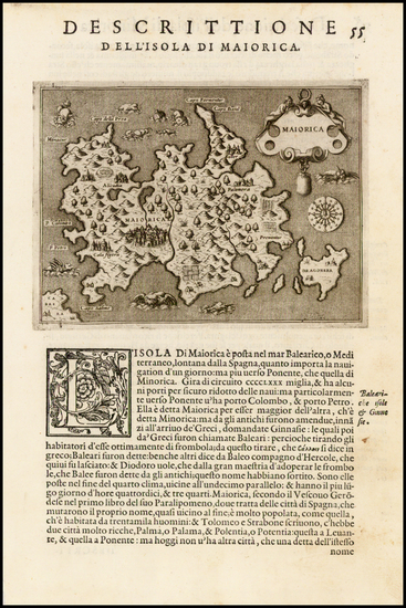 65-Spain and Balearic Islands Map By Tomasso Porcacchi