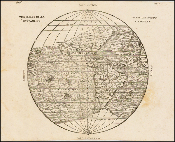 Western Hemisphere, Southwest, South America, California and America Map By Giovanni Battista Ramusio