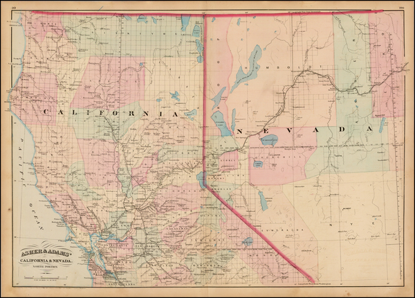 78-Nevada and California Map By Asher  &  Adams
