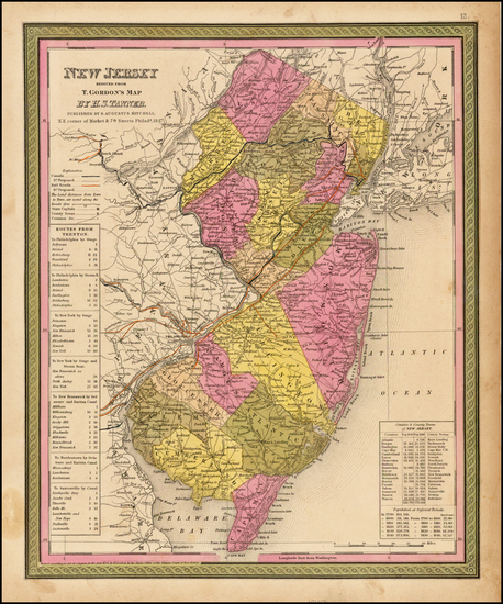 29-Mid-Atlantic and New Jersey Map By Samuel Augustus Mitchell / Henry Schenk Tanner