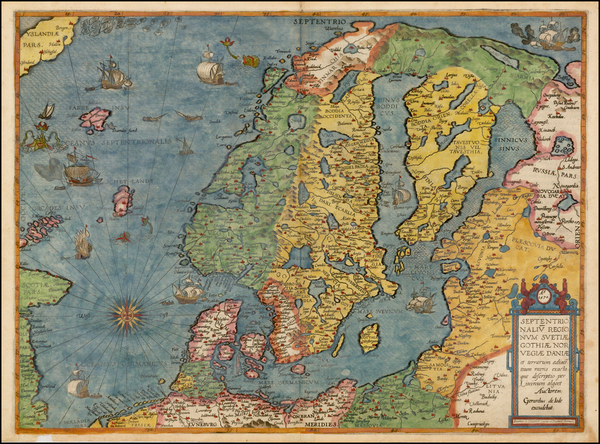 48-Atlantic Ocean, Russia, Baltic Countries and Scandinavia Map By Gerard de Jode