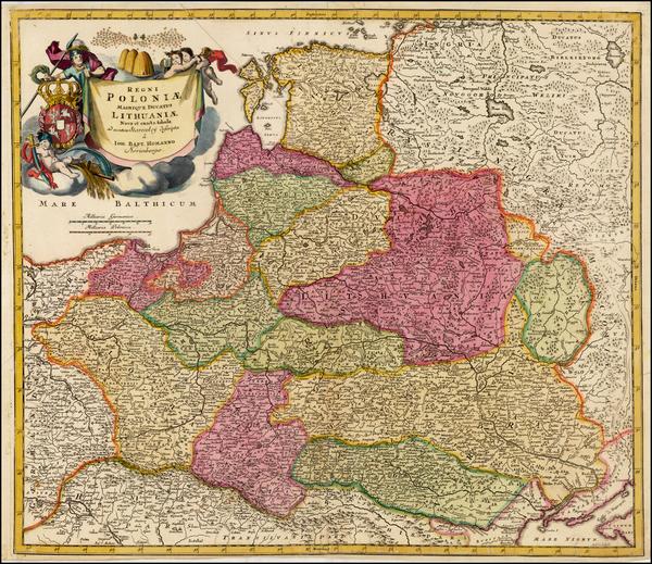 76-Poland, Russia, Ukraine and Baltic Countries Map By Johann Baptist Homann