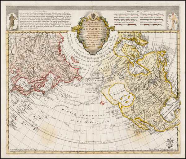 47-Polar Maps, Alaska, North America, Pacific and Russia in Asia Map By Leonard Von Euler