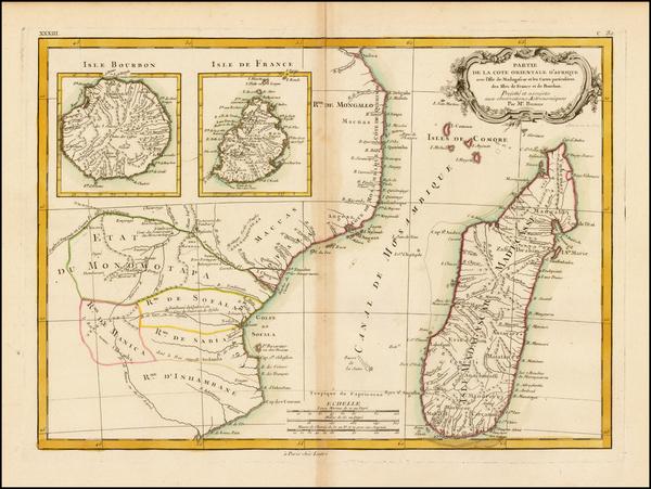 30-East Africa and African Islands, including Madagascar Map By Rigobert Bonne / Jean Lattré