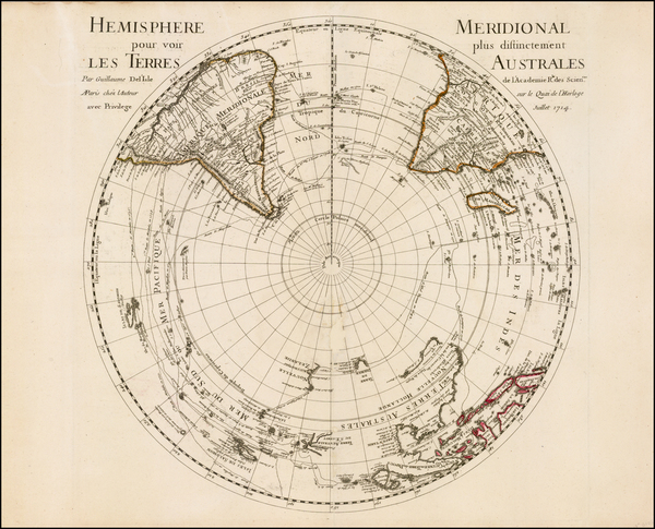 40-Southern Hemisphere, Polar Maps, Australia and New Zealand Map By Guillaume De L'Isle