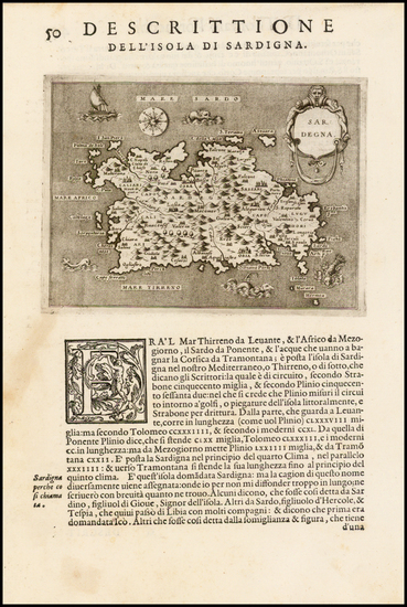 63-Italy, Balearic Islands and Sardinia Map By Tomasso Porcacchi
