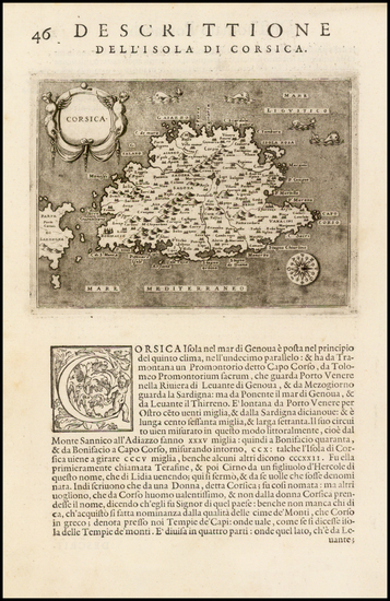 68-France and Corsica Map By Tomasso Porcacchi