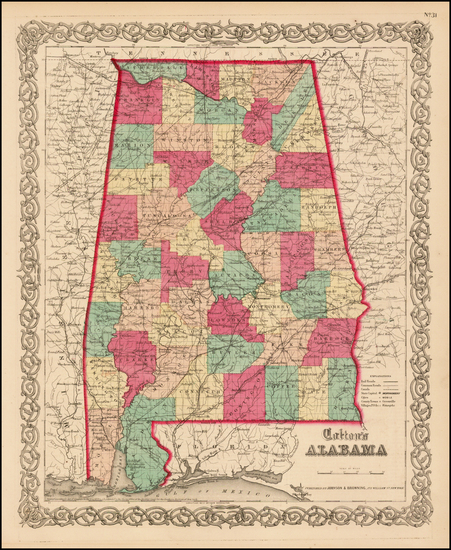 98-South and Alabama Map By Joseph Hutchins Colton