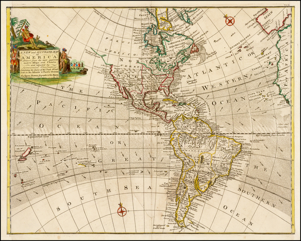 21-South America and America Map By Emanuel Bowen