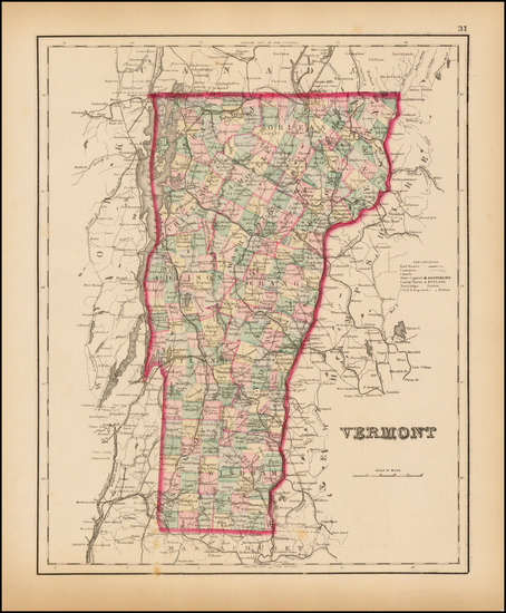 47-New England and Vermont Map By O.W. Gray
