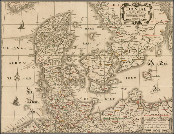 50-Scandinavia and Denmark Map By Claes Janszoon Visscher