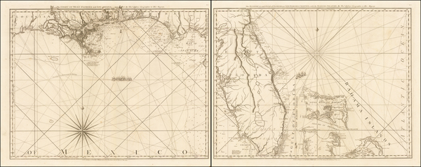 7-Florida, South, Alabama, Mississippi and Bahamas Map By Thomas Jefferys