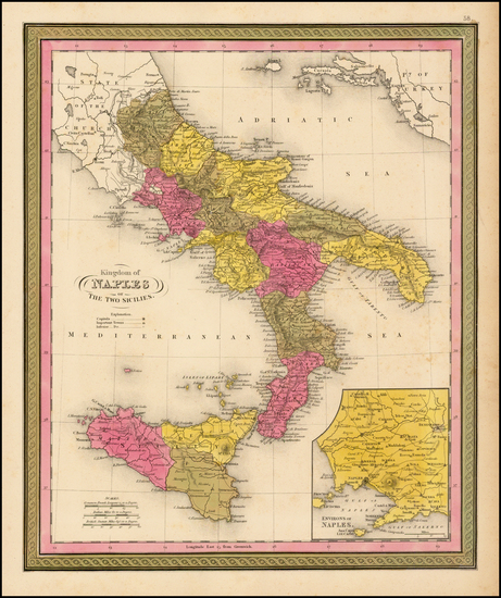 82-Italy and Balearic Islands Map By Samuel Augustus Mitchell