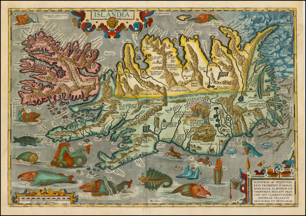 79-Atlantic Ocean, Iceland and Balearic Islands Map By Abraham Ortelius