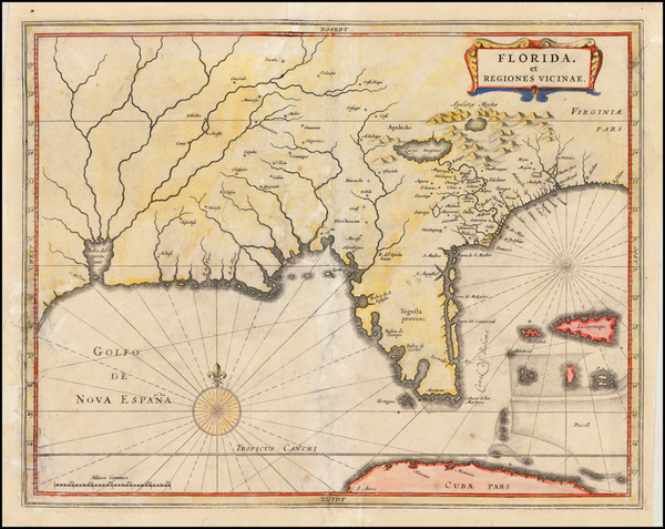 48-Florida, South and Southeast Map By Joannes De Laet