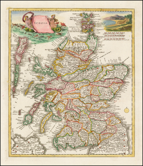35-Scotland Map By Giambattista Albrizzi
