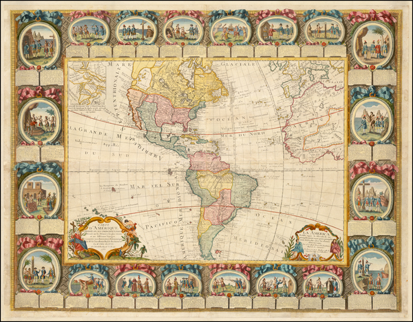 87-Western Hemisphere, North America, South America and America Map By Jean Baptiste Louis Clouet