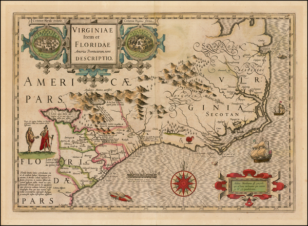 3-Mid-Atlantic and Southeast Map By Jodocus Hondius
