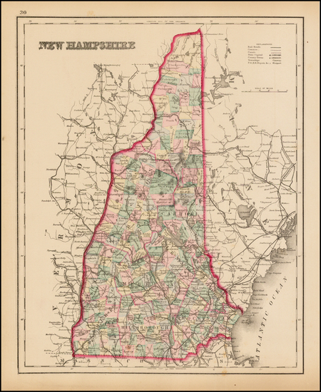 86-New England and New Hampshire Map By O.W. Gray