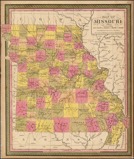 82-Midwest and Missouri Map By Samuel Augustus Mitchell