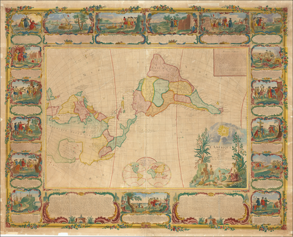20-North America, South America and America Map By Jean Janvier / Pierre-Nicolas Buret de  Longcha