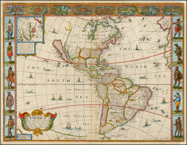 54-South America and America Map By John Speed