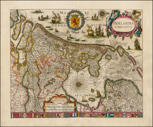 1-Netherlands Map By Willem Janszoon Blaeu